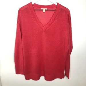 Eileen Fisher Organic Linen V Neck Sweater Small